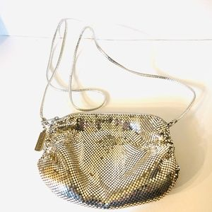 Whiting & Davis Silver Mesh Zippered Crossbody Bag
